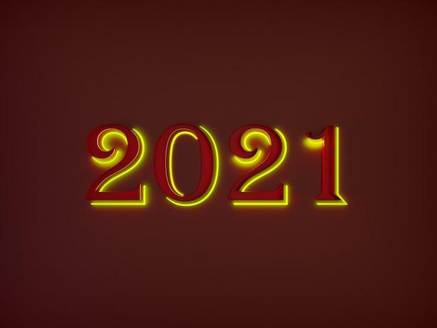 Grandes números vermelhos de feliz ano novo se destacam do fundo com uma luz de néon amarela ao redor deles