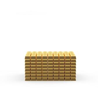 Grandes pilhas de barras de ouro