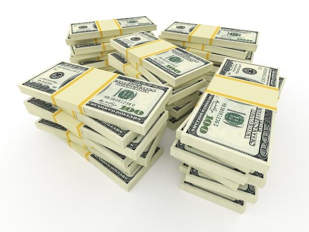 Grandes pilhas de dinheiro de dólares isolados no branco