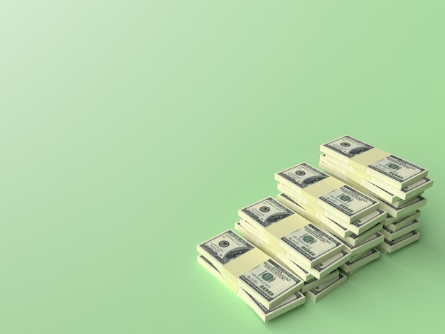Grandes pilhas de notas de dólar na superfície verde em branco