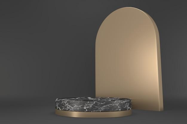 Granito moderno, pódio da vitória mostram produtos cosméticos geométricos. renderização 3d