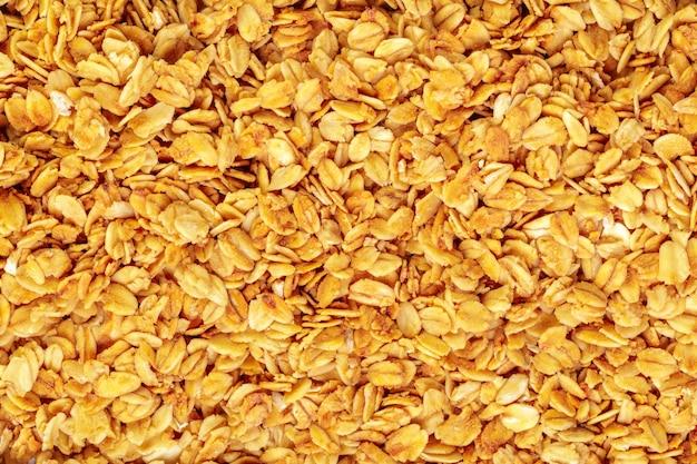 Granola assada caseira na assadeira fundo de comida de pequeno-almoço