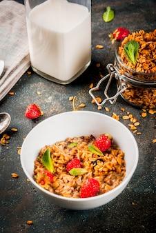 Granola caseira da mistura de cereais