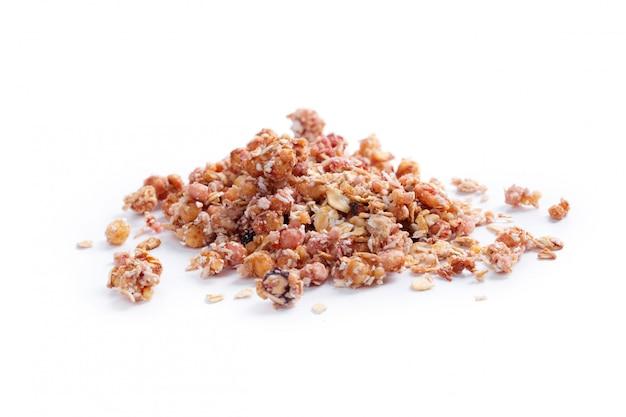 Granola pequeno-almoço saudável isolado