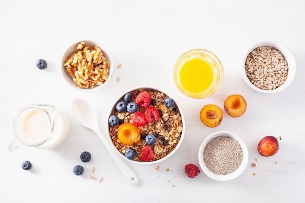 Granola saudável no café da manhã com frutos silvestres, leite vegan