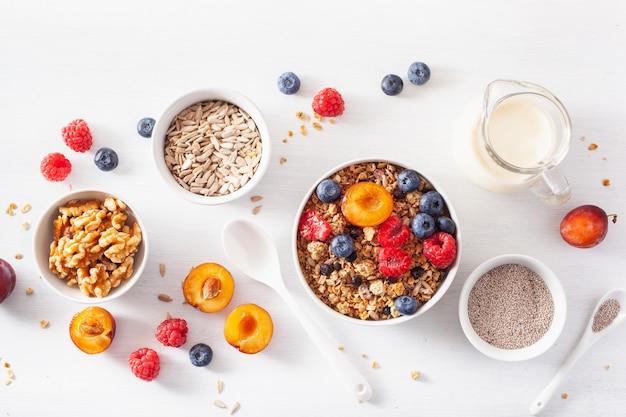 Granola saudável no café da manhã com frutos silvestres, leite vegetal