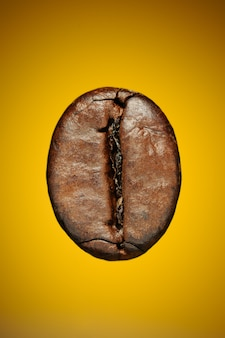 Grão de café torrado em um fundo amarelo