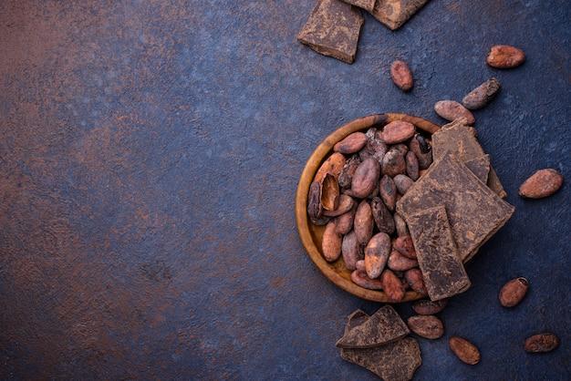 Grãos de cacau naturais e chocolate