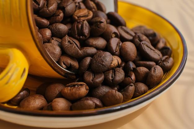 Grãos de café arábica em um copo amarelo exótico e brilhante em uma superfície bege com sombras de uma palmeira