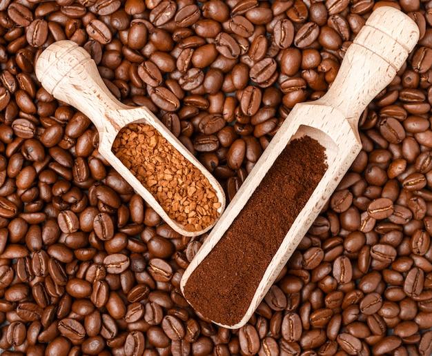 Grãos de café, café moído e solúvel