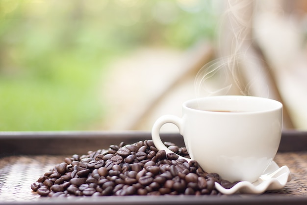 Grãos de café com caneca de café branco desfocagem o fundo, uma xícara de café quente é colocada ao lado dos grãos de café