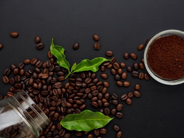 Grãos de café com vista superior.