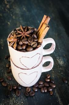 Grãos de café crus