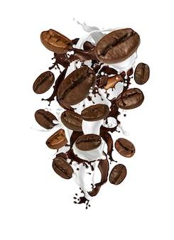 Grãos de café e respingo de leite