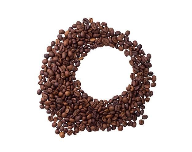 Grãos de café em forma de círculo isolado