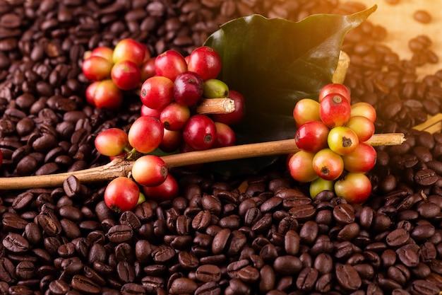 Grãos de café. em uma rotação de superfície de madeira