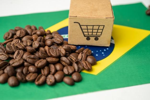 Grãos de café na bandeira do brasil importação exportação bebida conceito de comida