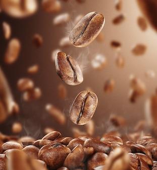 Grãos de café pretos fritos com fumaça caindo, alta resolução, renderização em 3d