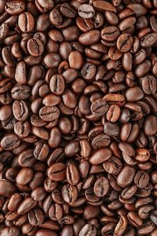 Grãos de café recém torrados como textura