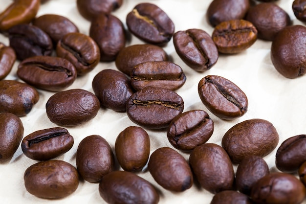 Grãos de café torrados frescos e naturais prontos para moer e fazer café aromático, produtos alimentícios naturais, bebida prejudicial com cafeína, closeup