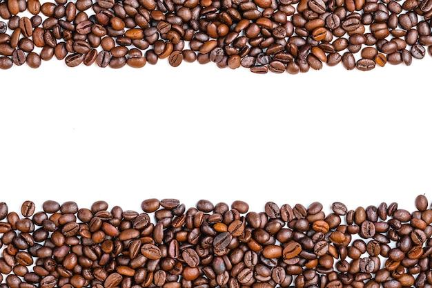 Grãos de café vista superior cópia espaço