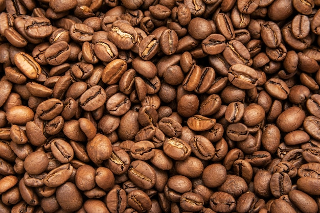 Grãos de café, vista superior