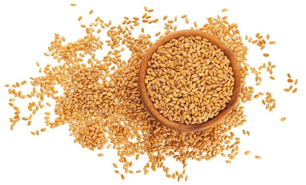 Grãos de trigo isolados no branco, vista superior