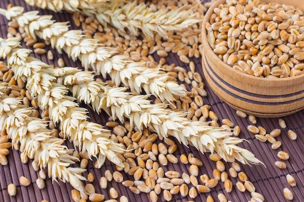 Grãos, espigas de trigo