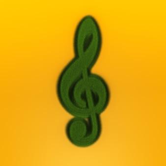 Grass treble clef. renderização 3d.