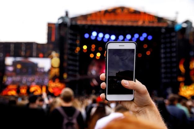 Gravação de vídeo em um celular, show show