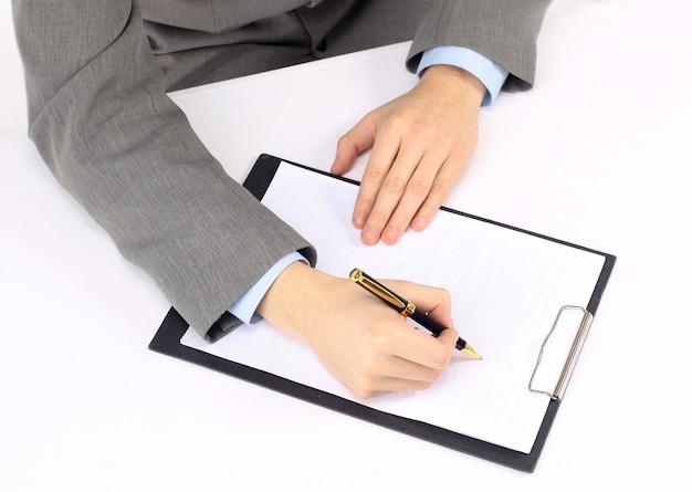 Gravação do plano de trabalho no escritório.