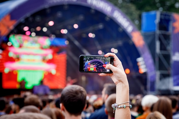 Gravando vídeo em show com smartphone