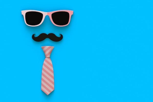 Gravata, bigode e óculos em azul