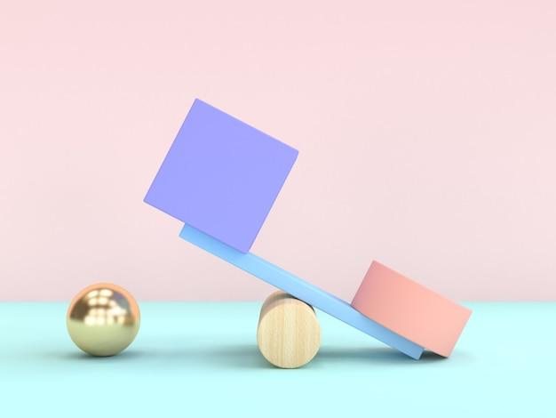 Gravidade conceito abstrato forma geométrica cubo esfera 3d rendering