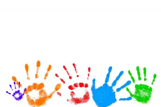 Gravuras coloridas de palmas das crianças