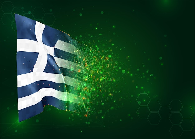 Grécia, vetor bandeira 3d em fundo verde com polígonos e números de dados