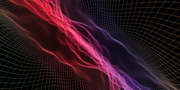 Grelha de onda abstrata ilustração 3d efeito de luz de malha de cor néon
