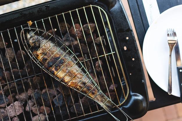 Grelhar peixe na grelha