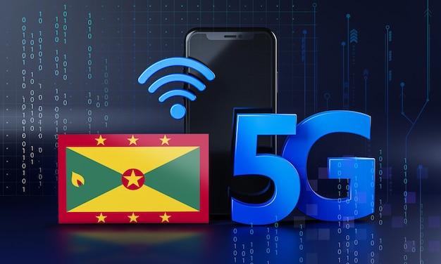 Grenada pronta para o conceito de conexão 5g. fundo de tecnologia de smartphone de renderização 3d