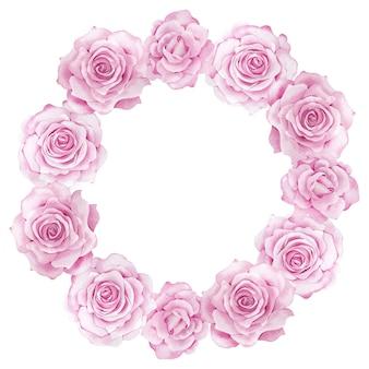 Grinalda de flores em aquarela de jardim rosa