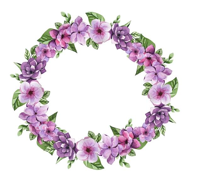 Grinalda de flores em aquarela linda