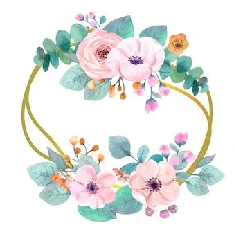 Grinalda de flores em aquarela