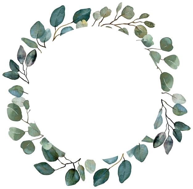 Grinalda de hortaliças de verão. eucalipto, quadro de vegetação de primavera. quadro de convite floral de casamento. quadro vintage em aquarela.