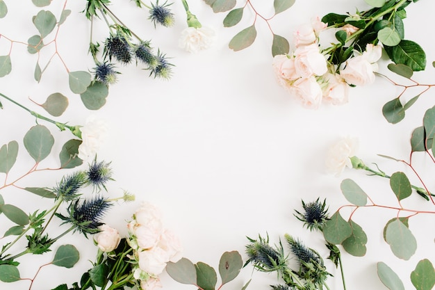 Grinalda de moldura redonda feita de flores rosas bege, flor de eringium, ramos de eucalipto. camada plana, vista superior