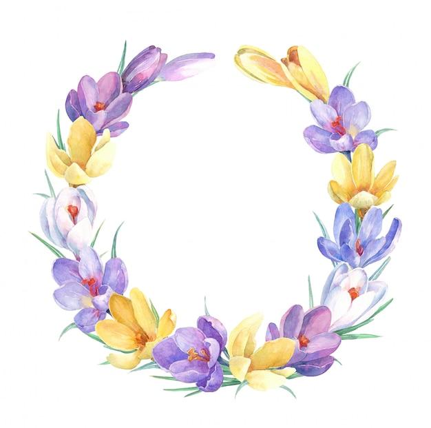 Grinalda de primavera com flores coloridas de açafrão