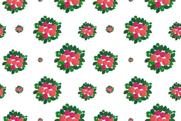 Grinalda sem costura padrão de flores e folhas em um fundo branco