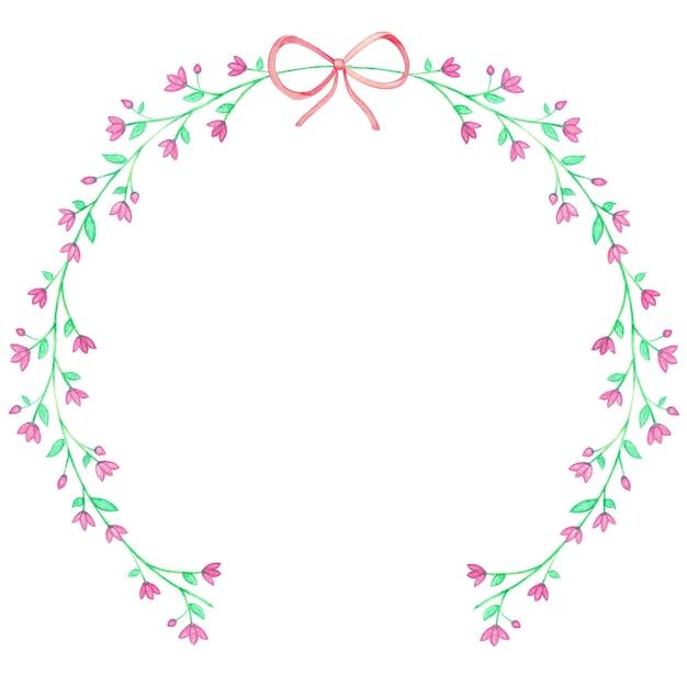 Grinaldas florais aquarela roxas e fita