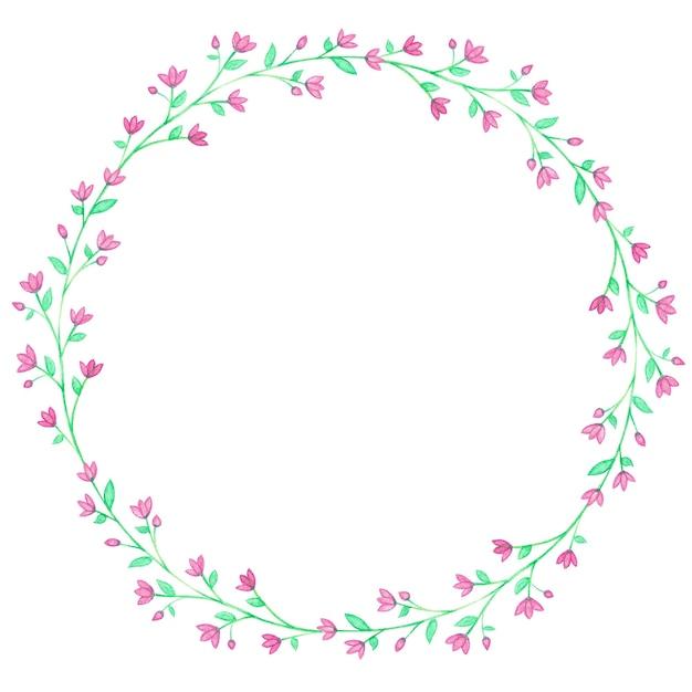 Grinaldas florais em aquarela roxa