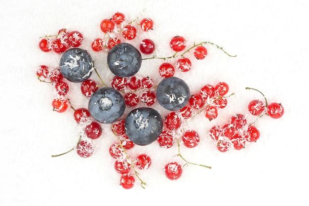 Groselha e mirtilos em coco em fundo branco. alimentos úteis com frutas vermelhas e vitaminas