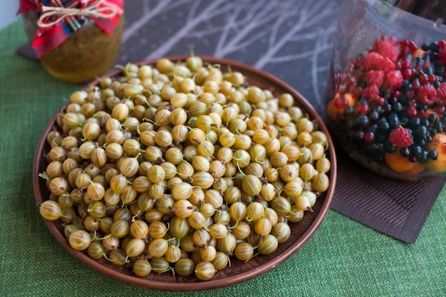 Groselha madura em um prato, colheita de frutas vermelhas